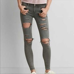 AEO Green Distressed Jeggings